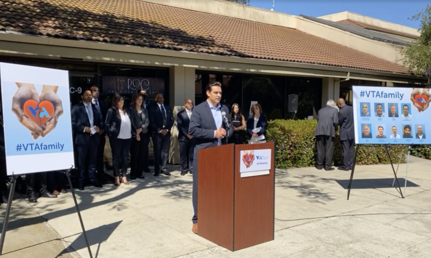 San Jose City Councilmember Raul Peralez speaks at a news conference Thursday.