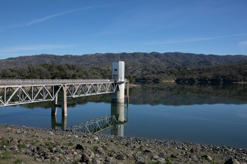 The dam at Lake Mendocino. Photo by Anne Wernikoff for CalMatters
