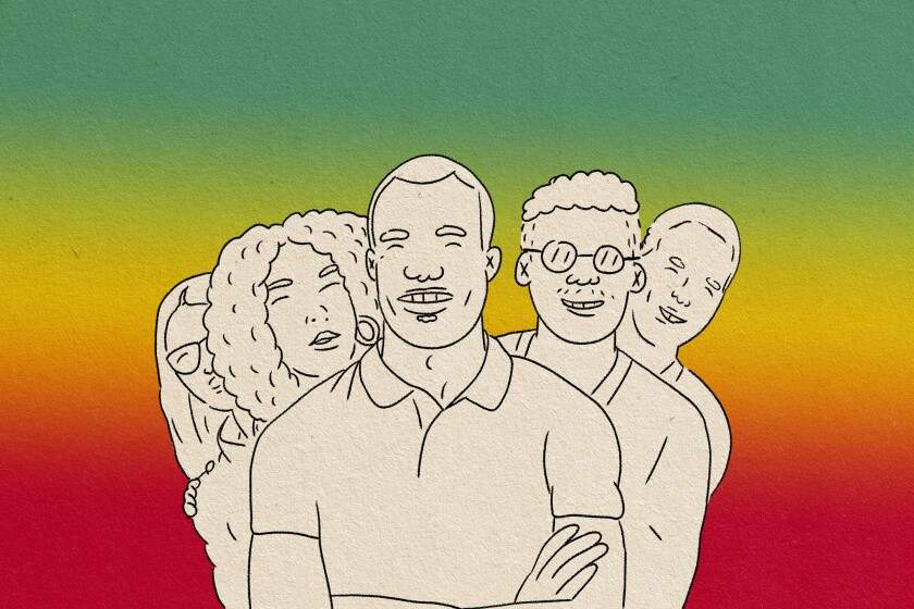 an illustrated staggered group of 5 people