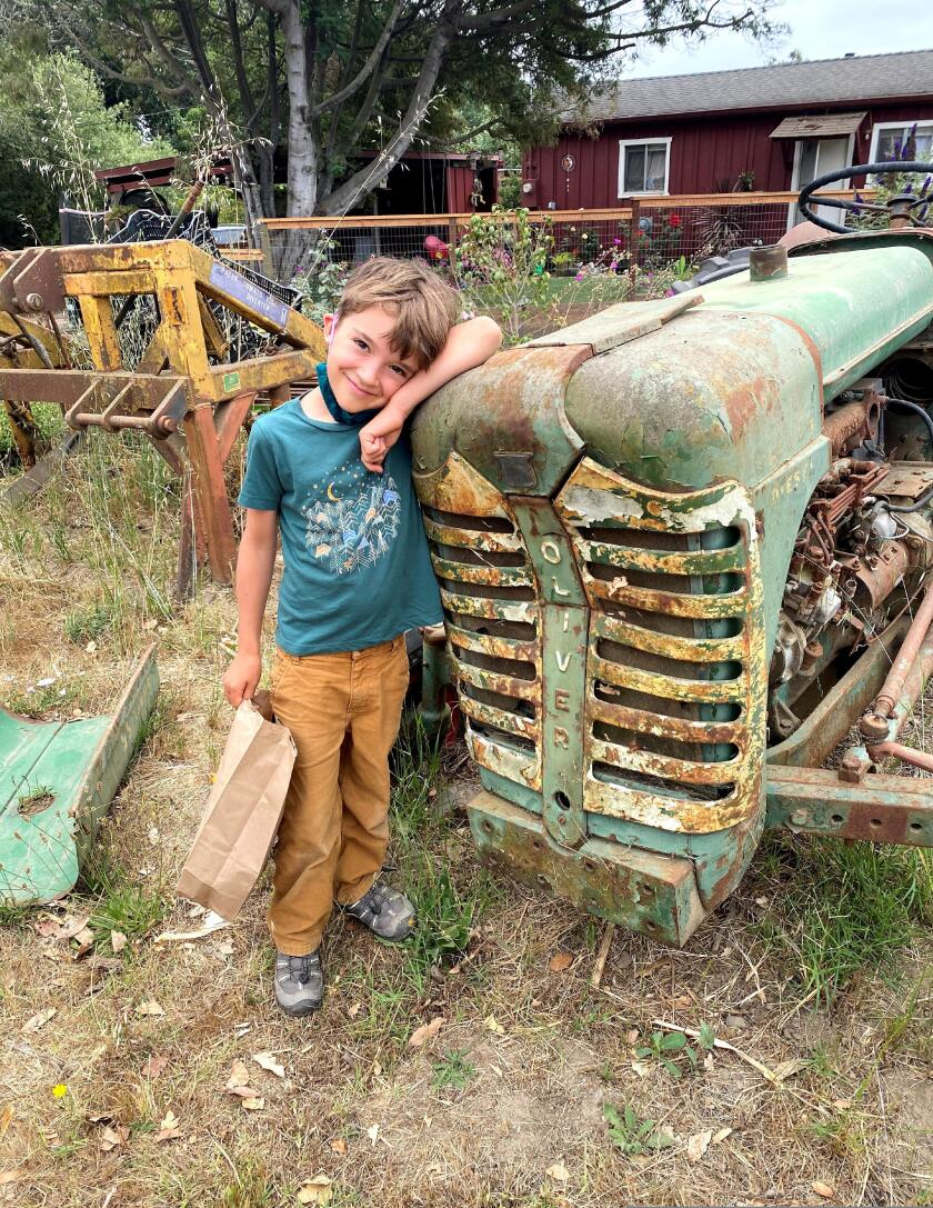 Kid with tractor