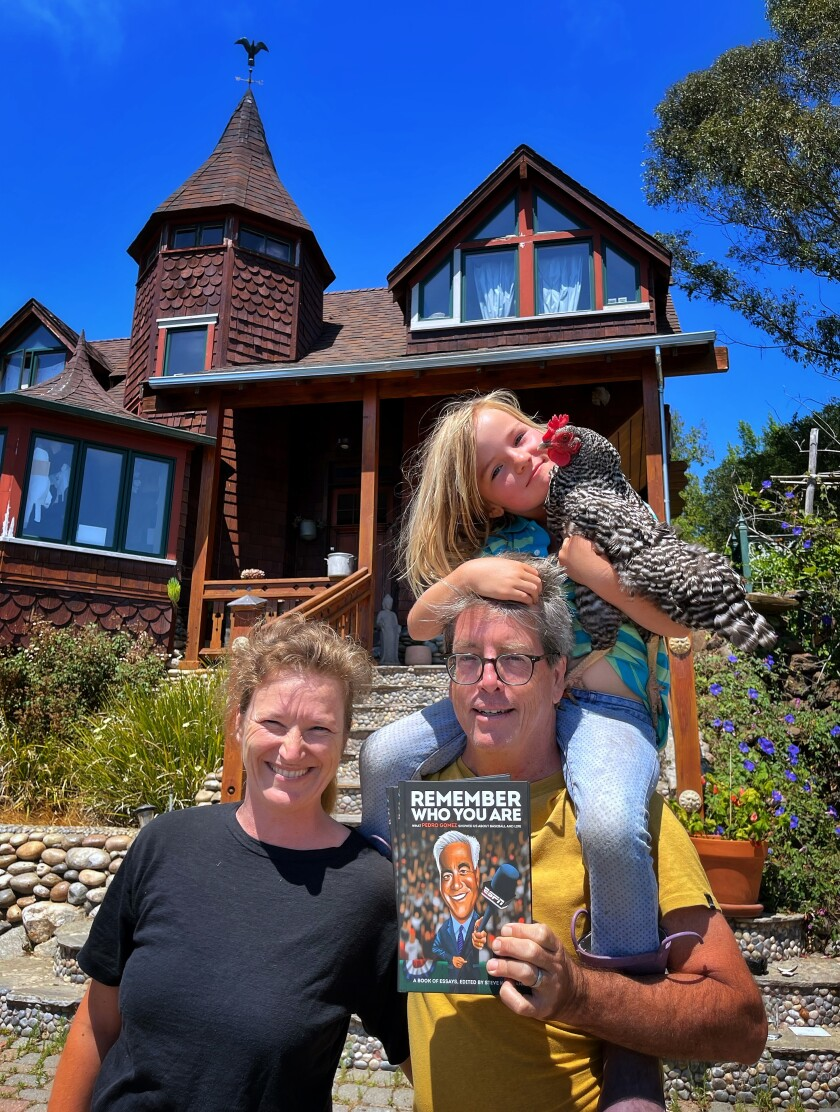 Steve Kettmann with his wife Sarah (left) and daughter Coco at the Wellstone Center in the Redwoods in Soquel.