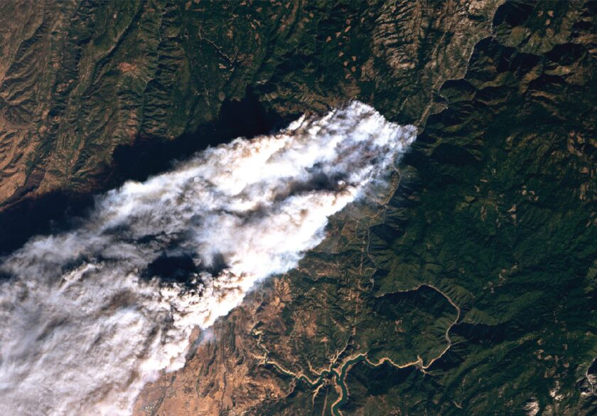 Satellite image over Paradise during the Camp fire.