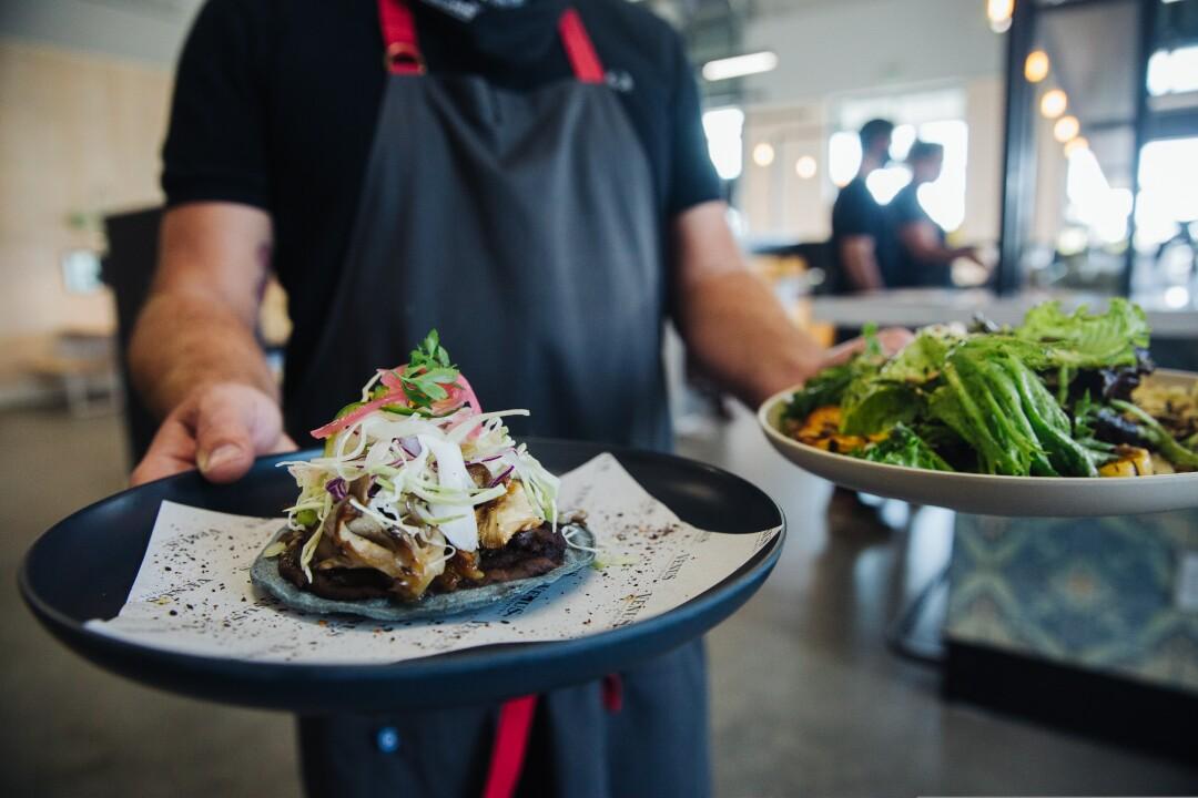 Maitake mushroom tostada and house salad