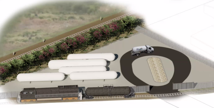A rendering of a proposed propane tank storage facility in the city of Watsonville.