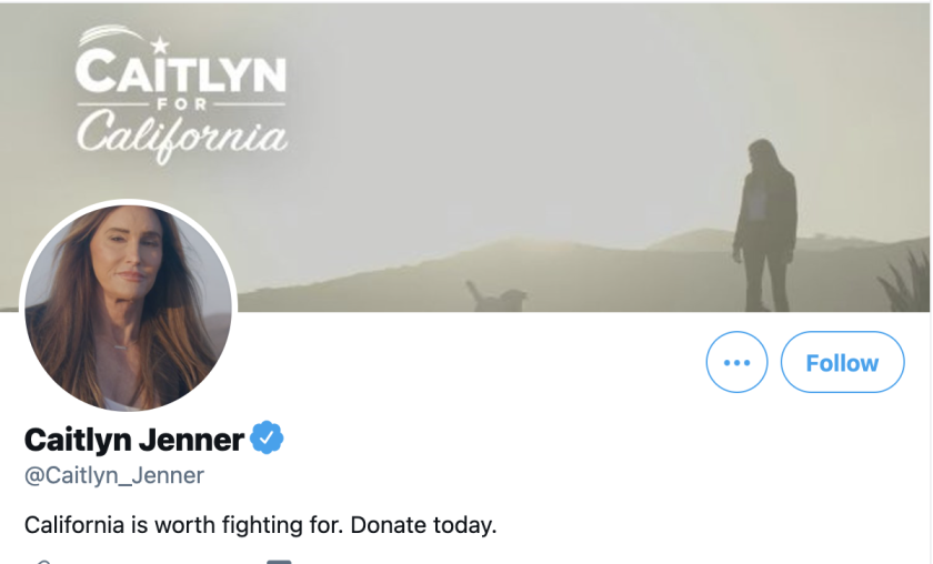 Caitlyn Jenner's Twitter page had already begun soliciting donations for a political run.