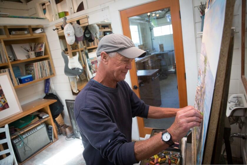 Paul Fortis, Santa Cruz County artist painting a landscape with pastels