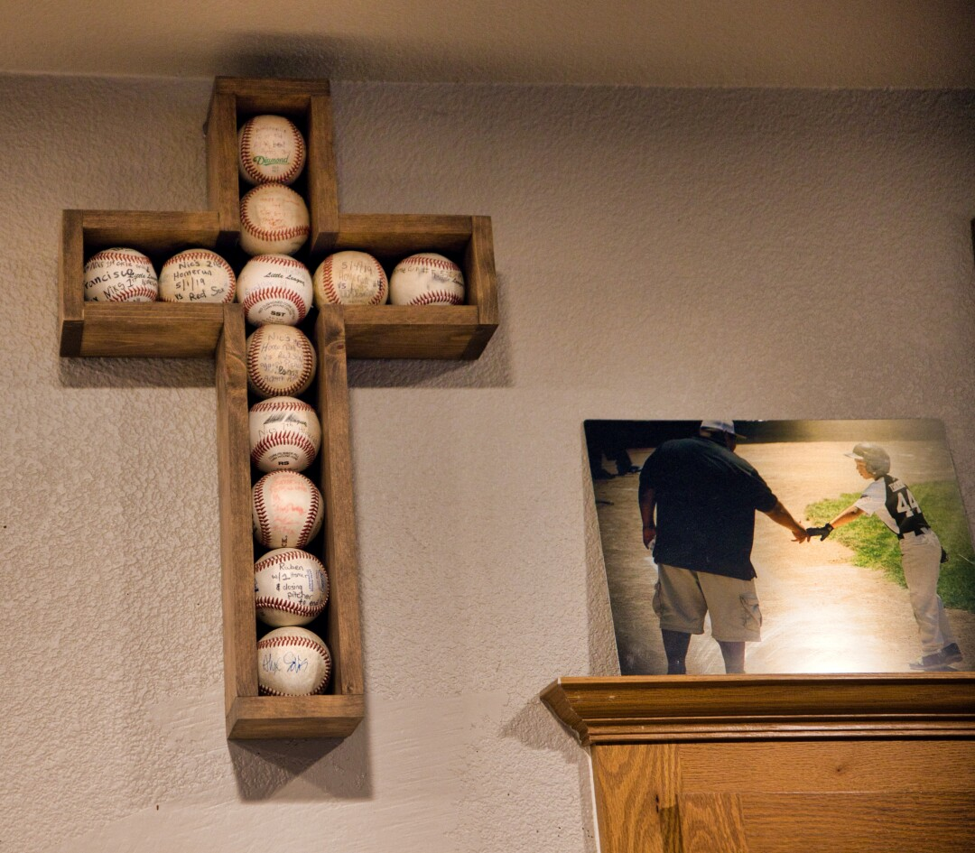 The walls of Nikki and Pete Ibarra's house is a shrine to baseball.
