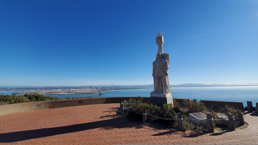 The statue of Juan Rodriguez Cabrillo looks over San Diego Bay at the Cabrillo National Monument.