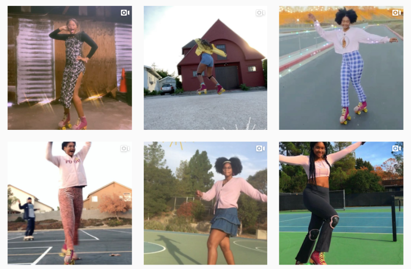 A screenshot of @eliseonwheelz, the Instagram page Dauterive uses to track her skating progress.