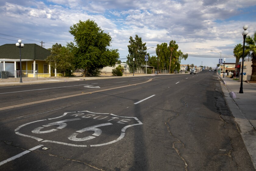 Route 66 cuts through the Mojave desert town of Needles.