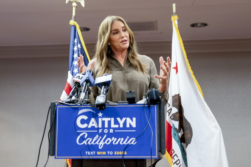 Caitlyn Jenner, a Republican candidate in the Gavin Newsom recall election