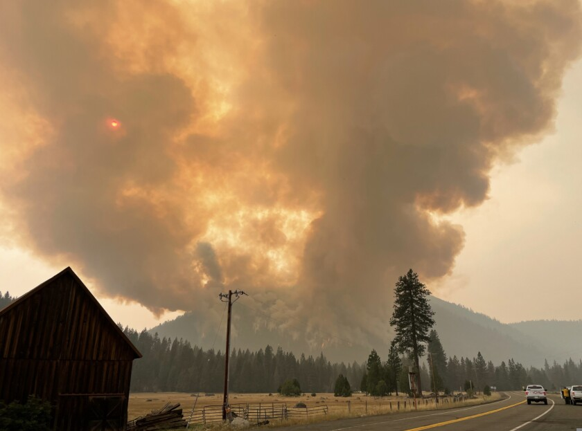 The Dixie fire burns in the Morgan Springs area.