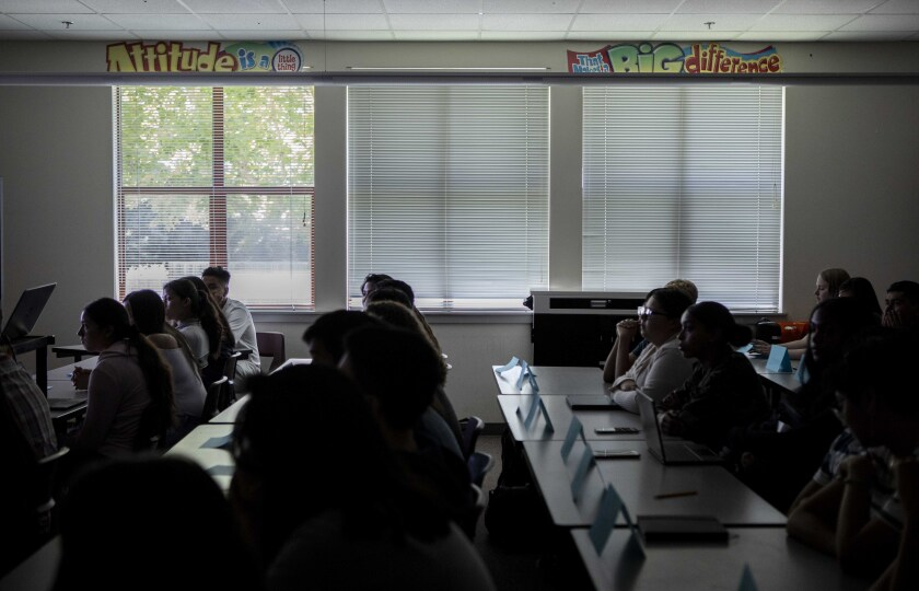 Students at Piner High School in Santa Rosa listen to their instructor.