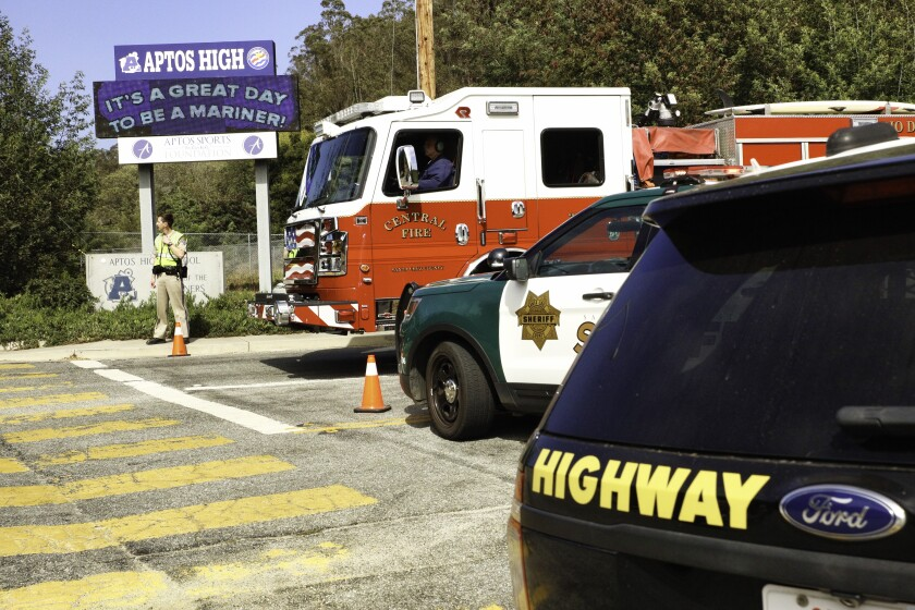 Police and fire block off Aptos High School after Tuesday's stabbing attack.