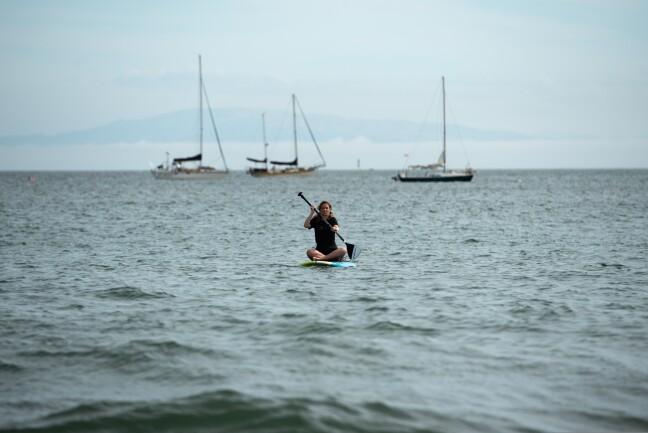 A paddleboarder paddles near sailboats