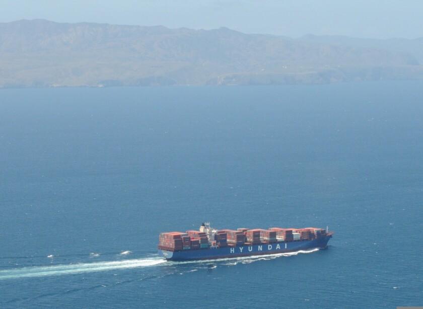 A Hyundai container ship.