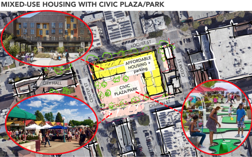 An initial rendering shows how the Church Street library site could be used for affordable housing, parking and a plaza.