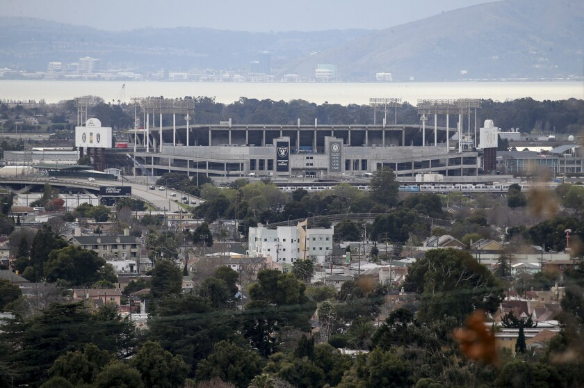 A view of the Oakland Coliseum