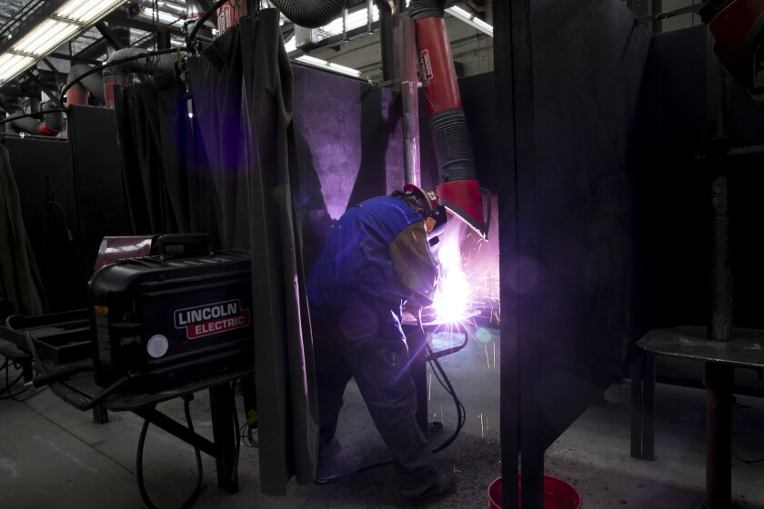 Journeyman Robert LeRoy practices welding for his recertification Ironworkers Local Union 377 training center in Benicia on June 10, 2021. Photo by Anne Wernikoff, CalMatters