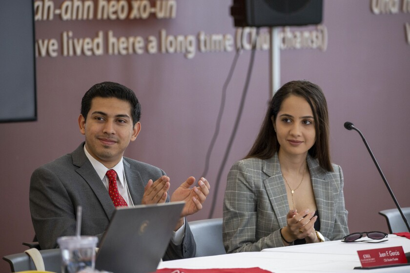 CSU Student Trustees Juan F. Garcia and Maryana Khames