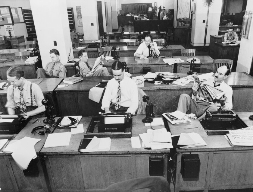 A historical image of a newsroom