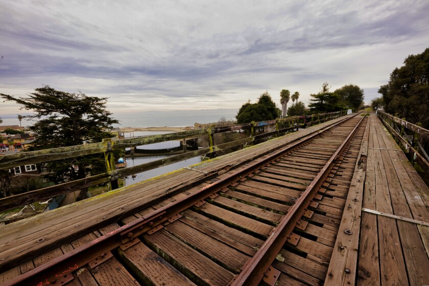 Part of the coastal rail line in Santa Cruz County.