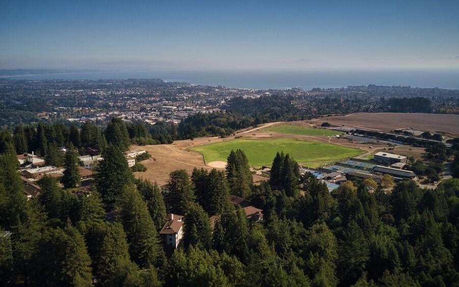 An aerial view of the UC Santa Cruz campus and Santa Cruz.
