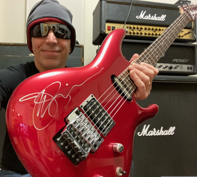 This Ibanez JS240 signed by Joe Satriani is up for grabs.