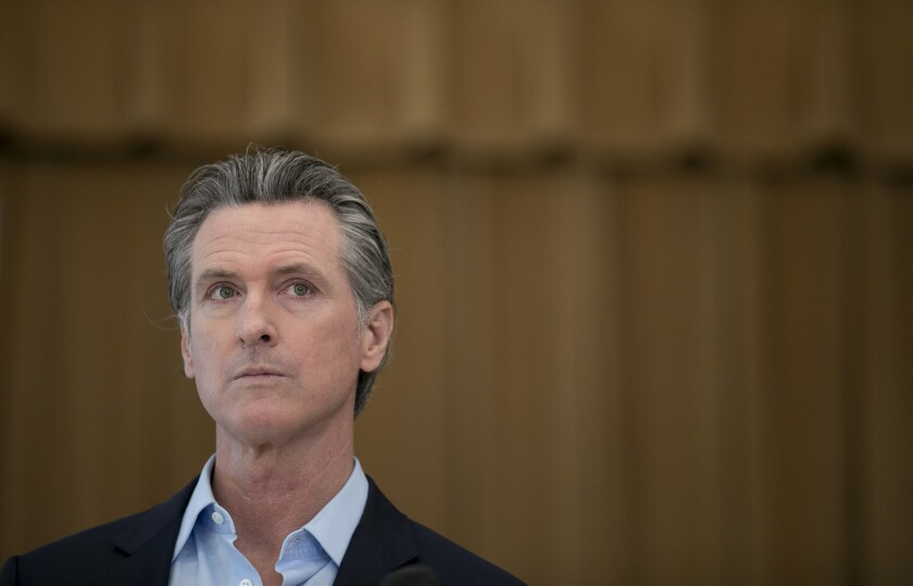 Gov. Gavin Newsom speaks to the press during a visit to Ruby Bridges Elementary School in Alameda on March 16, 2021.