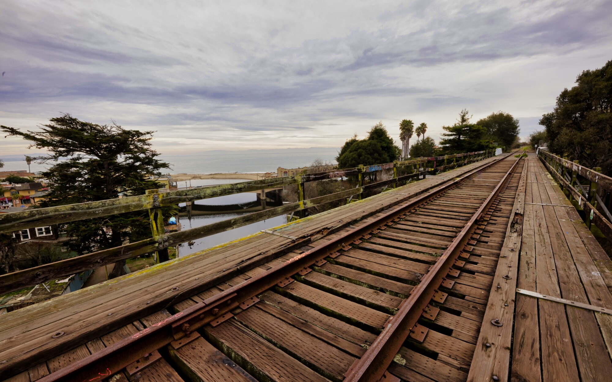 A section of the coastal rail corridor overlooking Capitola in Santa Cruz County.