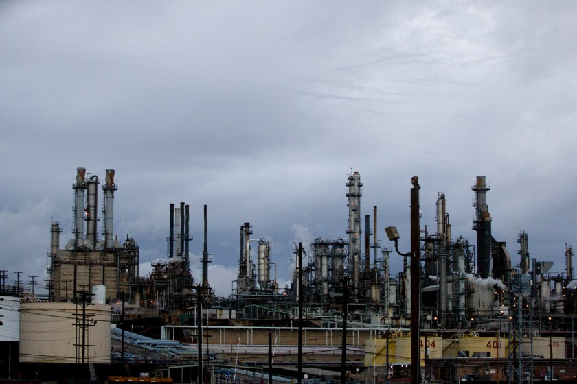 The Valero Wilmington Refinery in Long Beach on Jan. 28, 2021. Photo by Shae Hammond for CalMatters