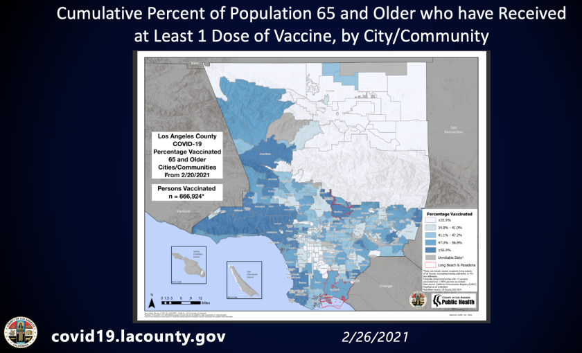 A map shows the rate of vaccination among seniors in L.A. County.