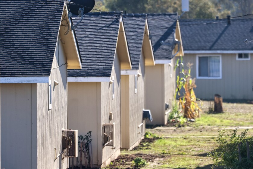A line of homes at the Buena Vista Migrant Center, near Watsonville.