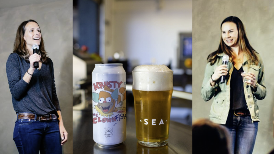 Adair Paterno and Emily Thomas flank a classic hoppy offering from Humble Sea, Krusty The Clownfish.