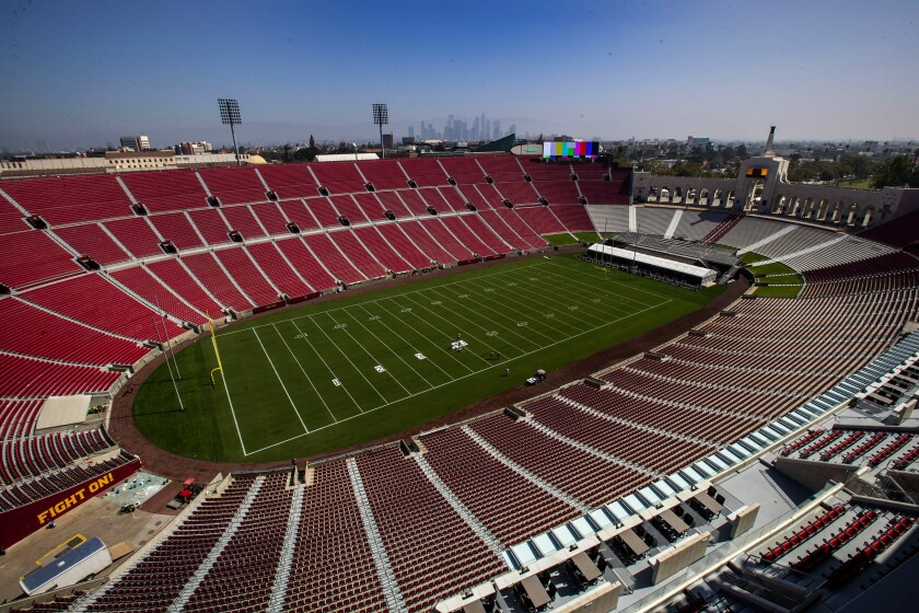 An above view of the Los Angeles Memorial Coliseum.