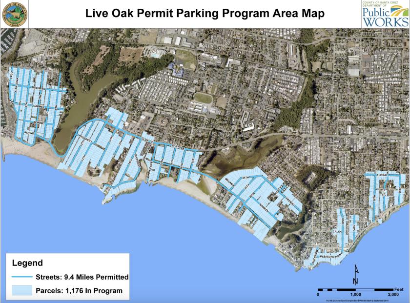 A map shows the current Live Oak Parking Program area.