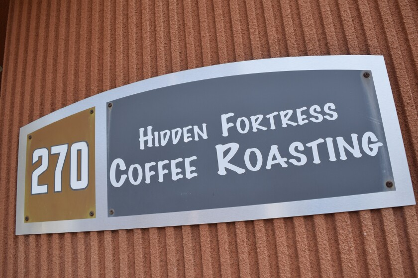 Outside the entrance of Hidden Fortress Coffee Roasting in Watsonville on Monday, August 16.