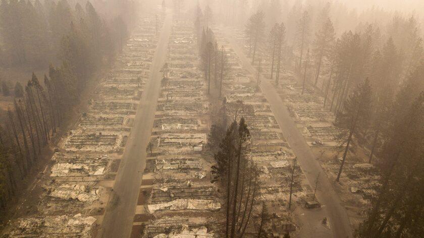In this aerial photo, a burned neighborhood is seen in Paradise, Calif., on Nov. 15, 2018.