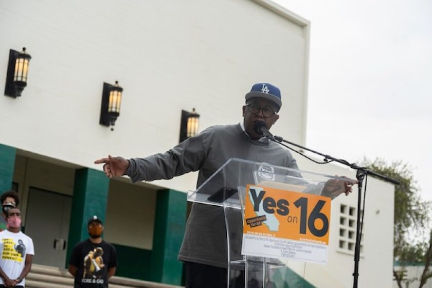 """Mark Ridley-Thomas, a member of the Los Angeles County Board of Supervisors, speaks at a """"Yes on 16"""" rally in South Los Angeles on Oct. 24, 2020. Photo by Tash Kimmel for CalMatters"""