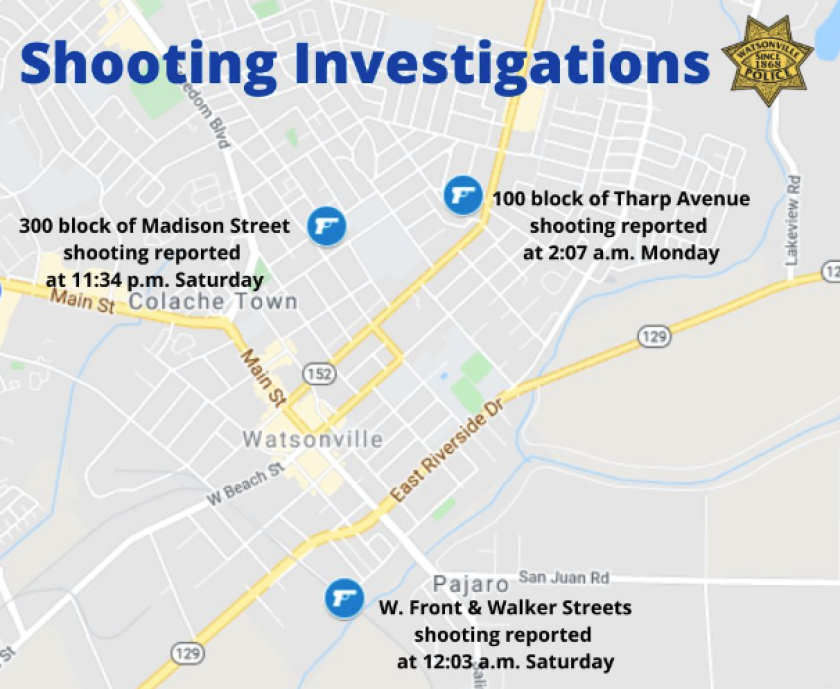 A map of three shootings in Watsonville between Feb. 13 and Feb. 15.
