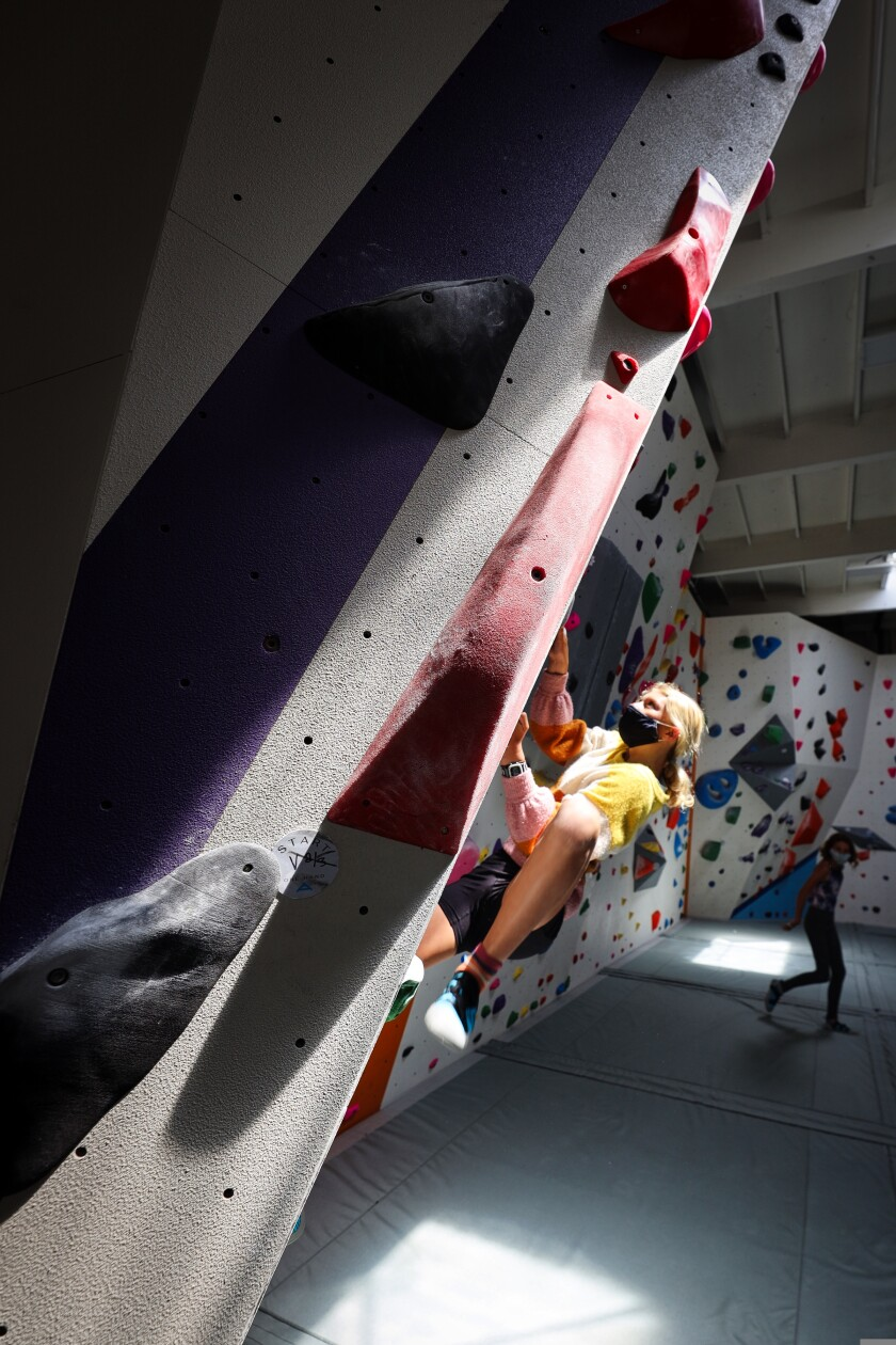 Cecile Novembre, 12, climbs at Agility Boulders in Capitola.