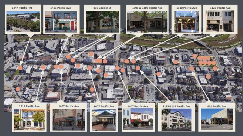 The vacant storefronts of downtown Santa Cruz.