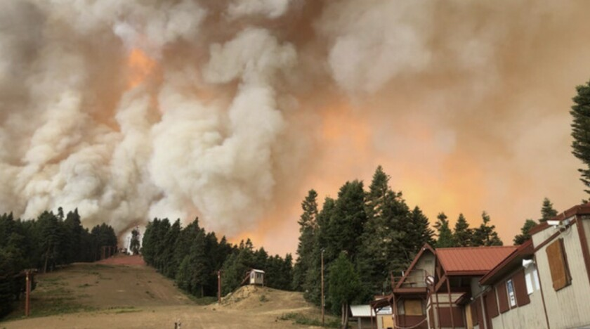 The Caldor fire burns in El Dorado County, southwest of Lake Tahoe.