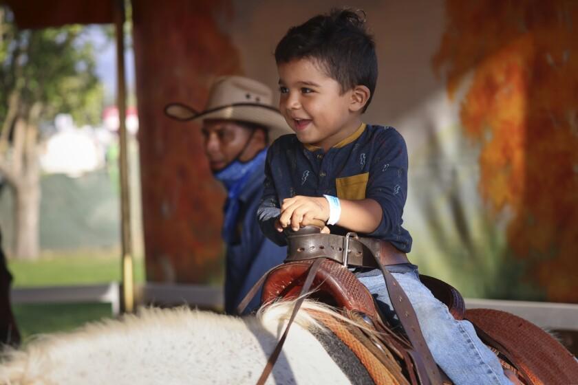 A boy rides a pony at the county fair