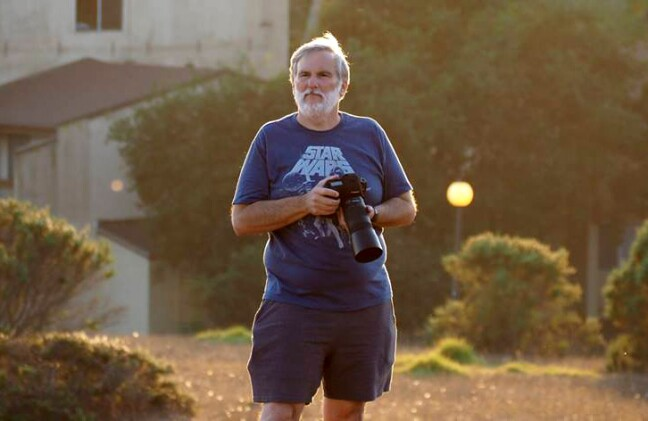 Stephen Louis Marino taking photos on the UCSC campus.