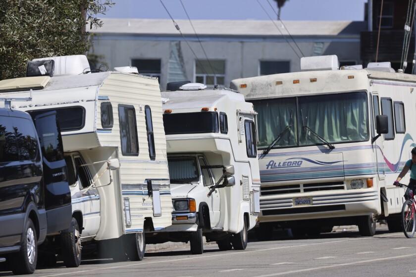RVs stack up along Delaware Avenue on Santa Cruz's Westside.