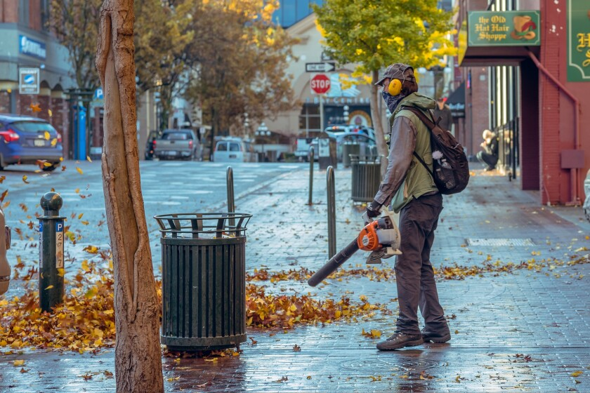 File image of man blowing leaves in the fall