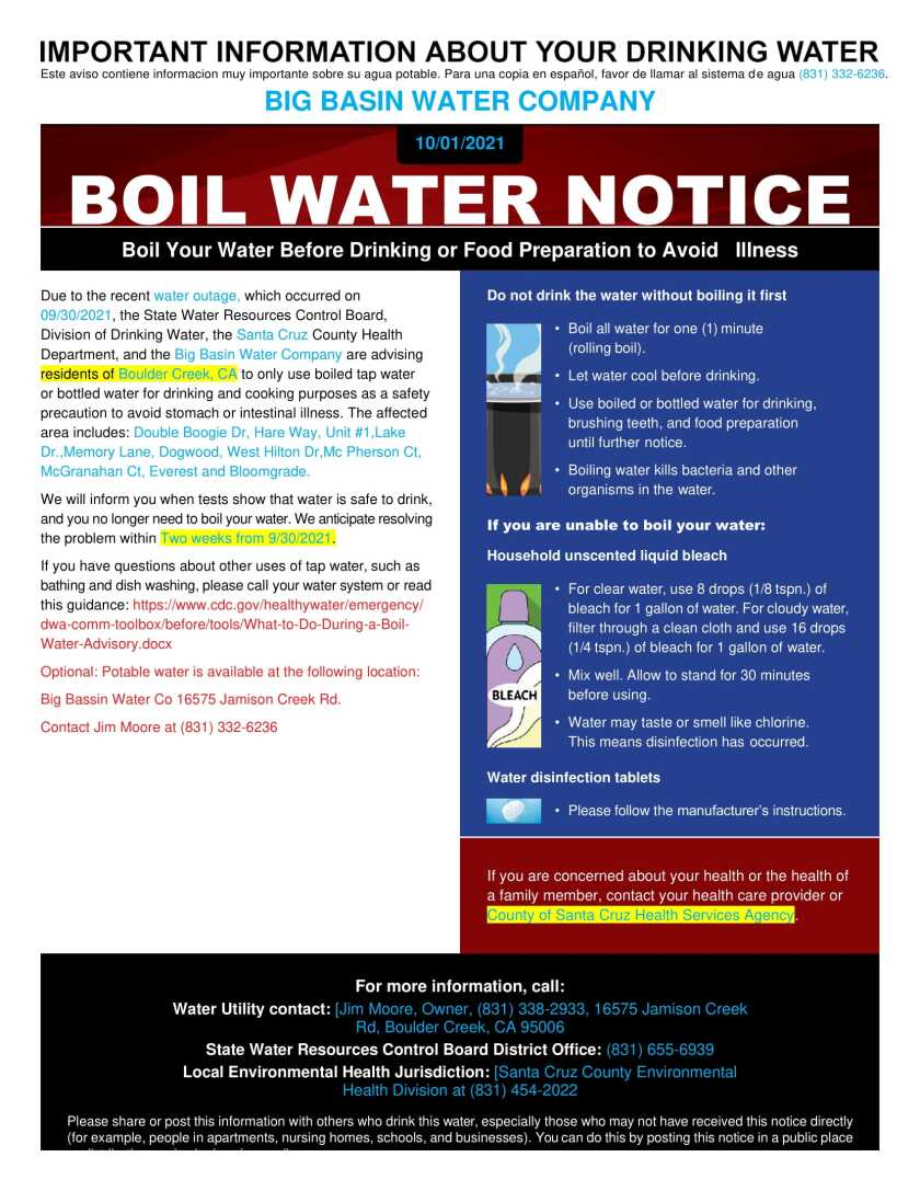 A boil water notice has been issued by the Big Basin Water Company for some residents of Boulder Creek.