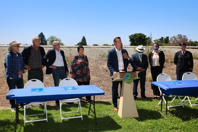 County Supervisor Zach Friend speaks during a design agreement signing for the Pajaro River Flood Risk Management Project