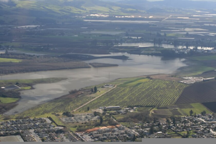 An aerial view of College Lake, northeast of Watsonville.